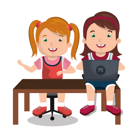 study table: Children using computer design, vector illustration