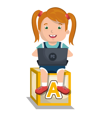 girl using laptop: Children using computer design, vector illustration
