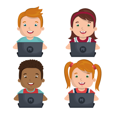 girl using laptop: Children using computer design, vector illustration