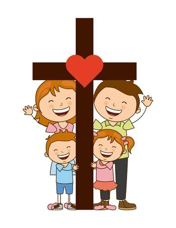 Dio e il design della famiglia, illustrazione grafica vettoriale eps10