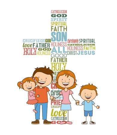 Dieu et la conception de la famille, vecteur illustration graphique eps10