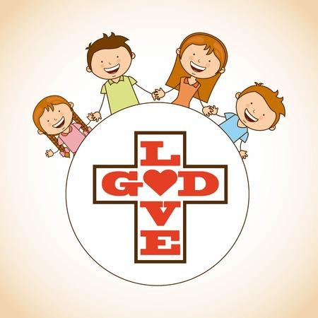 sacra famiglia: Dio e il design della famiglia, illustrazione grafica vettoriale eps10