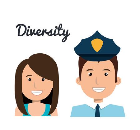 female cop: diversity concept design, vector illustration eps10 graphic Illustration