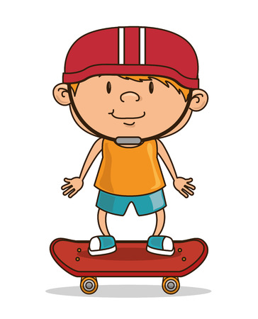 little skate: happy kids design, vector illustration eps10 graphic Illustration