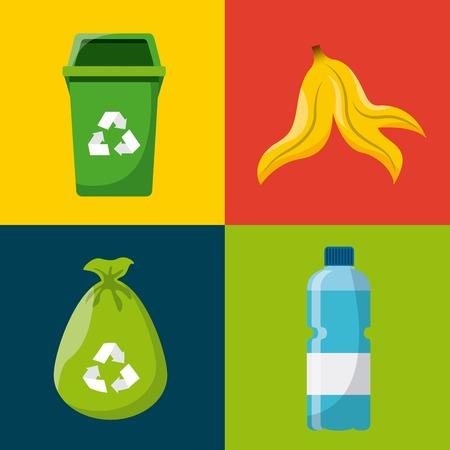 separacion de basura: concepto de diseño residuos, ejemplo gráfico del vector eps10