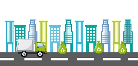 municipal utilities: trash truck design, vector illustration eps10 graphic