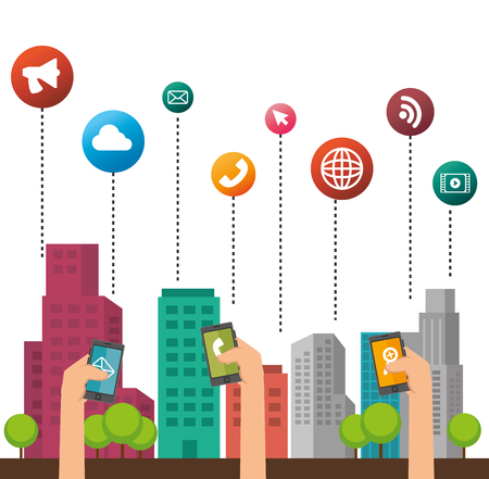 mobile internet: smart city design, vector illustration eps10 graphic