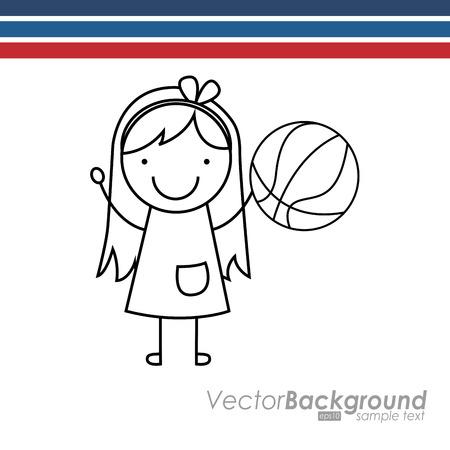 balon baloncesto: ni�os felices dise�o, ejemplo gr�fico del vector eps10