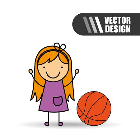 balon de basketball: ni�os felices dise�o, ejemplo gr�fico del vector eps10