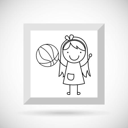 balon de basketball: niños felices diseño, ejemplo gráfico del vector eps10