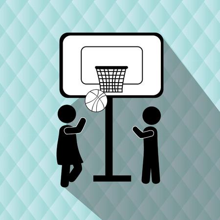 balon de basketball: niños felices diseño, ilustración vectorial gráfico eps10 Vectores