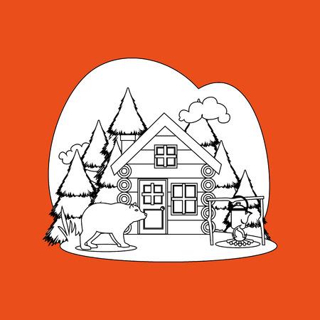 log cabin: log cabin design, vector illustration  graphic