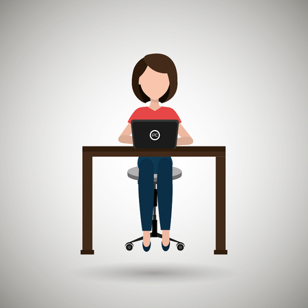 woman using laptop: user computer design, vector illustration eps10 graphic