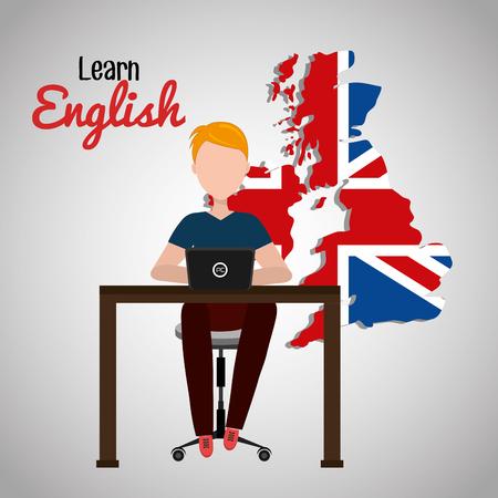 bandiera inglese: imparare l'inglese progettazione, illustrazione grafica vettoriale eps10