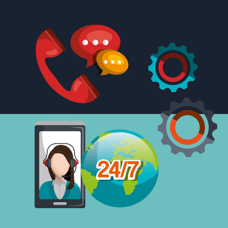 setup operator: call center design, vector illustration eps10 graphic
