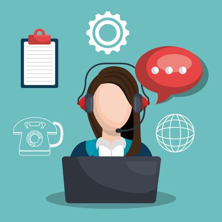 setup operator: call center design, vector illustration eps10 graphic