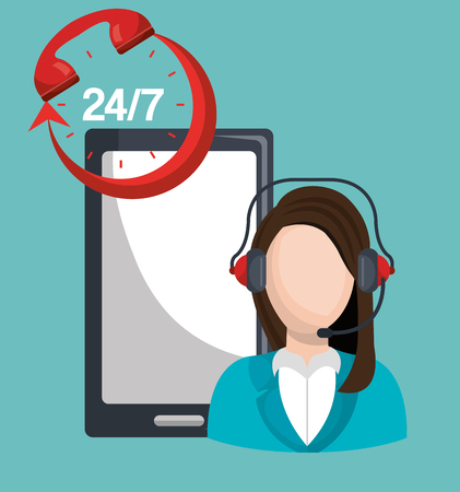 seven persons: call center design, vector illustration eps10 graphic