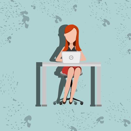 girl using laptop: user computer design, vector illustration eps10 graphic
