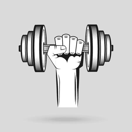 levantando pesas: Diseño del icono de la gimnasia del deporte, ejemplo gráfico del vector eps10 Vectores