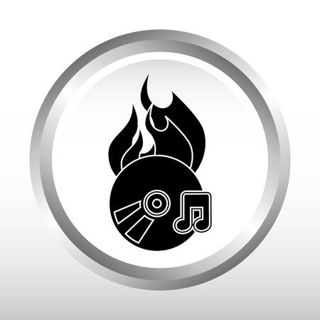 App bruciare cd disegno, illustrazione grafica vettoriale eps10