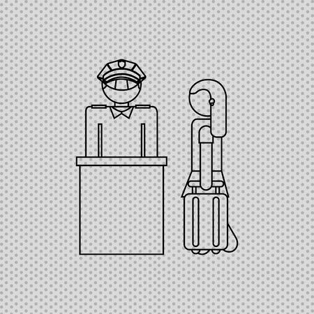 female cop: airport terminal design, vector illustration eps10 graphic