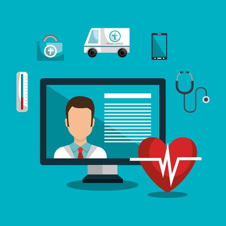 health care analytics: medicine online design, vector illustration eps10 graphic
