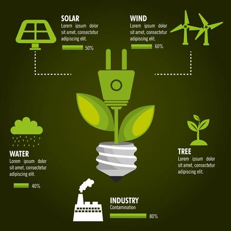 green buildings: renewable energy  design, vector illustration eps10 graphic