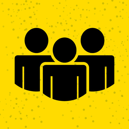 person icon: teamwork silhouettes design over yellow background, vector illustration