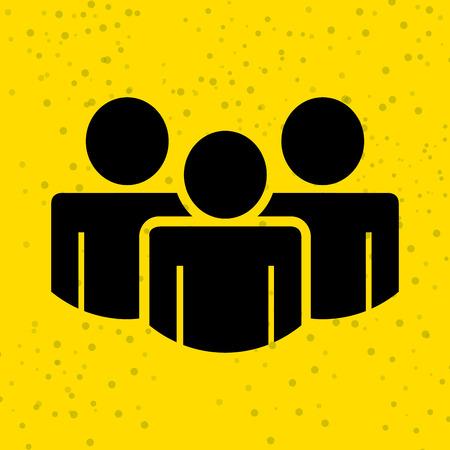 teamwork icon: teamwork silhouettes design over yellow background, vector illustration