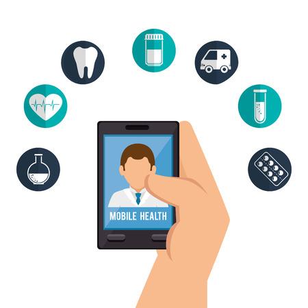 health care analytics: online medical design, vector illustration eps10 graphic