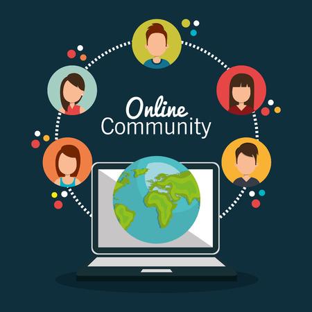 technology chat: online community design, vector illustration eps10 graphic