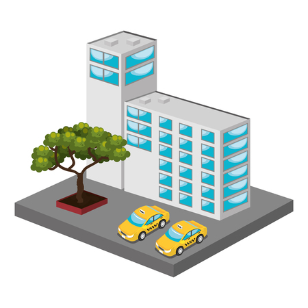 commercial tree service: isometric place design, vector illustration eps10 graphic