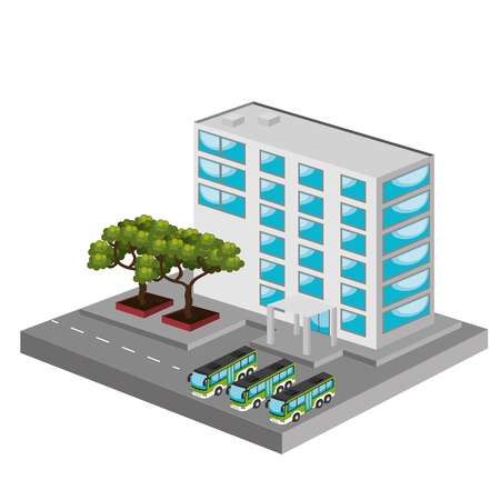 tree service business: isometric place design, vector illustration eps10 graphic