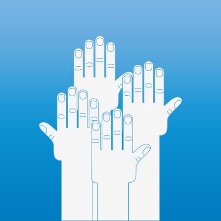 mutual help: hand human design, vector illustration eps10 graphic