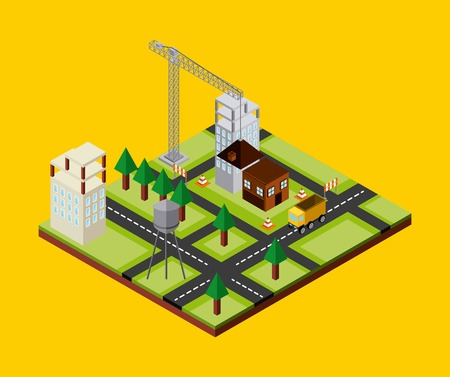tree service business: under construction design, vector illustration eps10 graphic Illustration