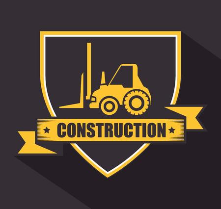 tractor warning sign: under construction design, vector illustration
