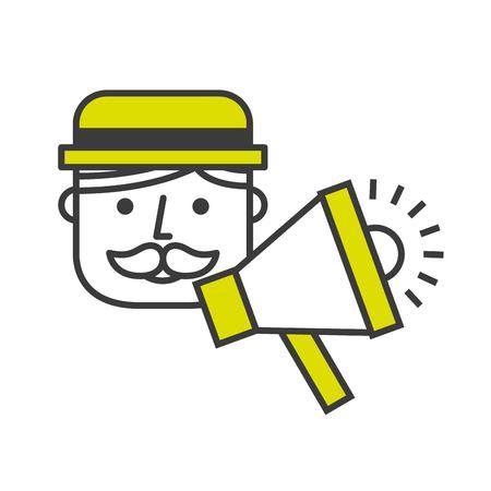 announcing: announcing with megaphone design, vector illustration eps10 graphic Illustration