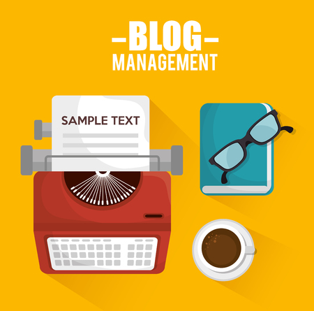 typewriting machine: blog management  design, vector illustration eps10 graphic
