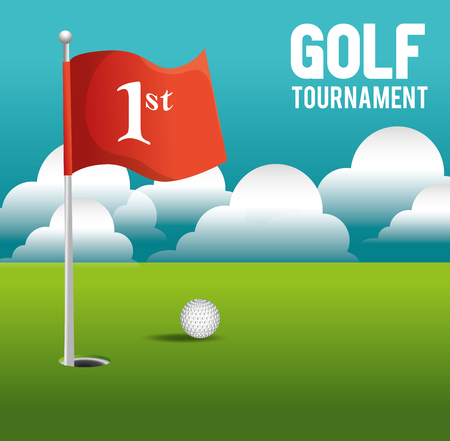flag background: golf tournament design, vector illustration eps10 graphic