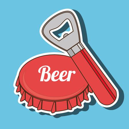 bottle cap opener: fresh beer design, vector illustration eps10 graphic Illustration