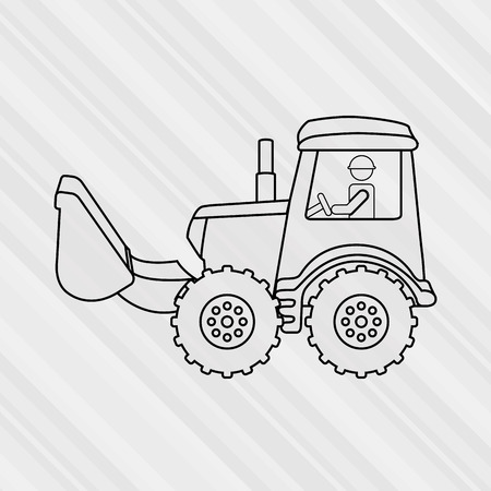 tractor warning: under construction design, vector illustration eps10 graphic Illustration