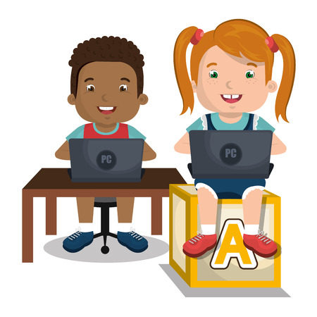 interacting: children interacting with laptop, vector illustration eps10 graphic Illustration