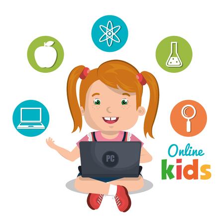 school computer: online kids design, vector illustration eps10 graphic Illustration