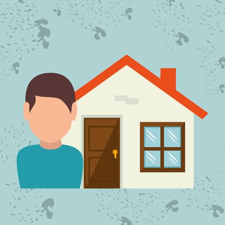 home owner: Homeowner outside design, vector illustration graphic Illustration