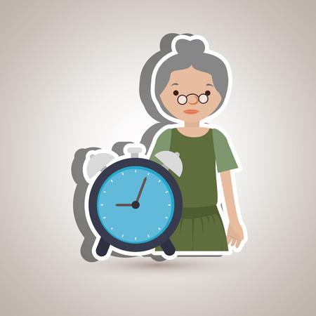 lady clock: Personal alert design, vector illustration graphic