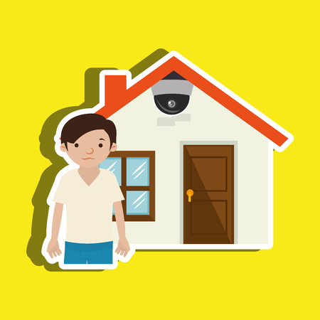 home owner: security system design, vector illustration graphic
