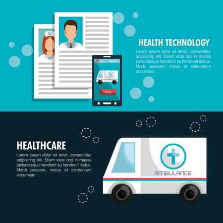 health care analytics: health technology design, vector illustration eps10 graphic Illustration