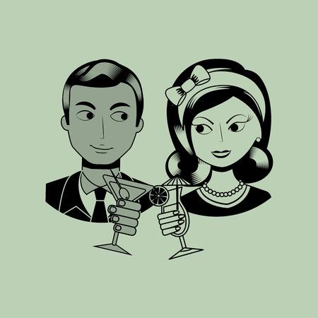 signora e disegno del signore, illustrazione grafica vettoriale eps10