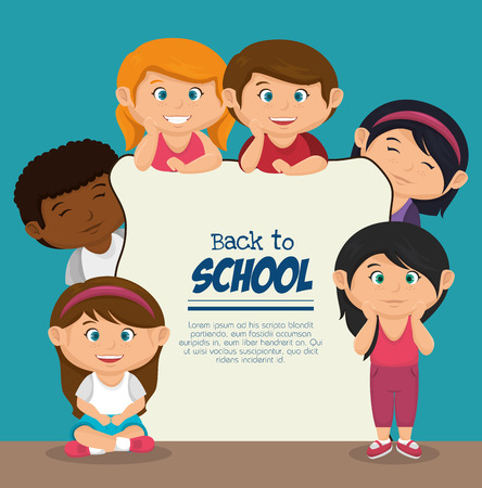 back view student: kids back to school design, vector illustration eps10 graphic