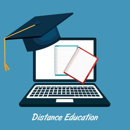 the distance: distance education design, vector illustration eps10 graphic